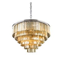 Royce Edge Polished Nickel 33-light Chandelier with Royal-cut Crystals