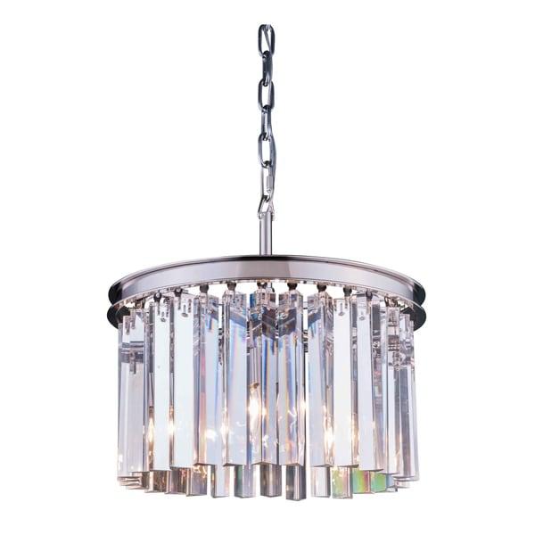 Royce Edge Polished Nickel/Clear Steel/Crystal 3-light Pendant