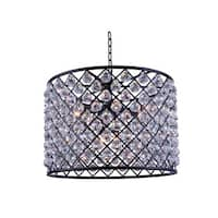 Royce Edge Matte Black Steel Royal Cut Crystal 8-light Chandelier