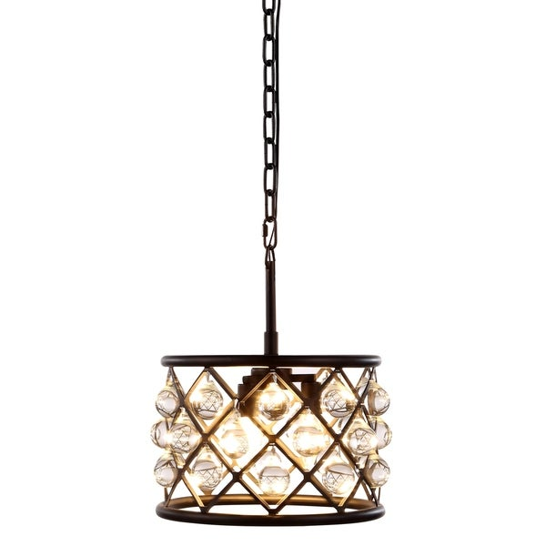 Royce Edge 3-Light Matte Black Steel Pendant Lamp With Royal Cut Clear Crystals