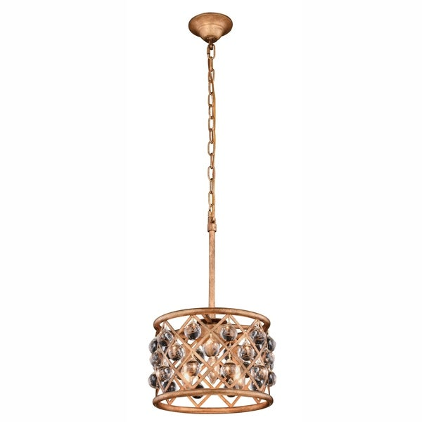 Royce Edge 3-Light Golden Iron Pendant - golden iron (royal cut clear crystals)