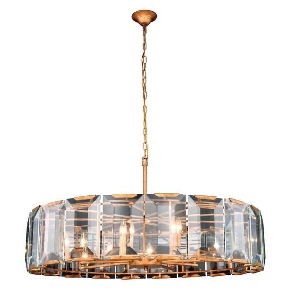 Royce Edge 10-Light Golden Iron Chandelier - golden iron (glass clear crystals)
