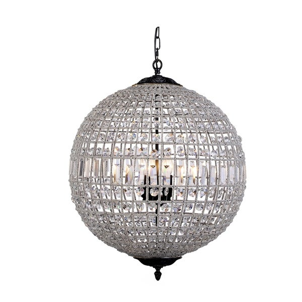 Royce Edge Dark Bronze Steel 3-light Pendant with Royal-cut Clear Crystals
