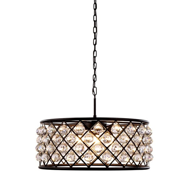 Royce Edge Matte Black-finish Steel and Crystal 6-light Chandelier