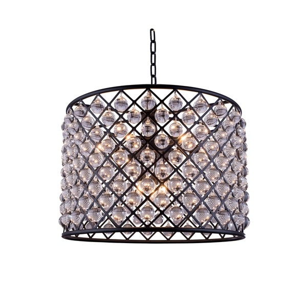 Royce Edge Matte Black Iron 8-light Chandelier with Royal-cut Clear Crystals