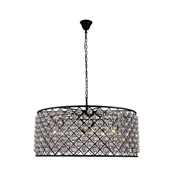 Royce Edge Matte Black Iron 10-light Chandelier with Royal-cut Clear Crystals