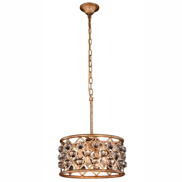 Royce Edge Golden Iron Steel 4-light Pendant with Royal Cut Clear Crystals