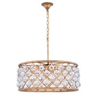 Royce Edge Golden Iron Steel with Crystals 6-light Chandelier