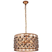 Royce Edge 6-Light Golden Iron Pendant - golden iron (royal cut clear crystals)