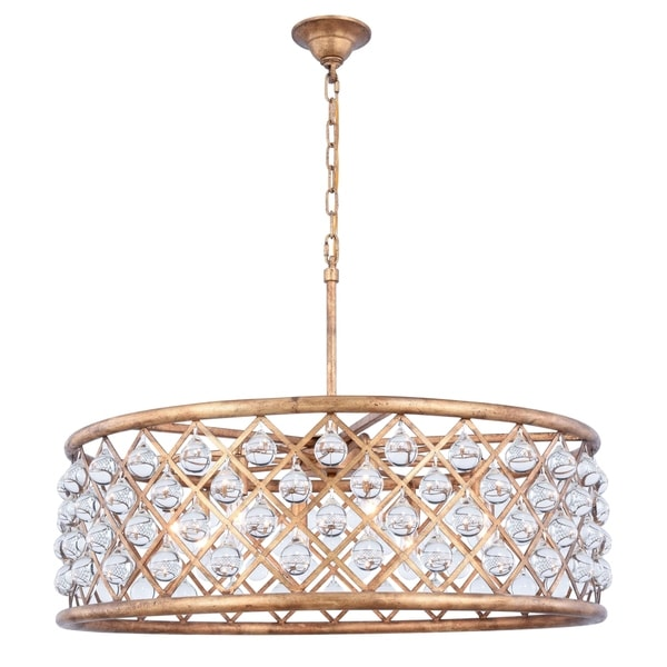 Royce Edge 8-Light Golden Iron Chandelier - golden iron (royal cut clear crystals)