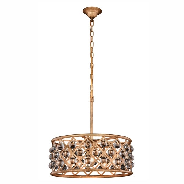 Royce Edge 5-Light Golden Iron Pendant - golden iron (royal cut clear crystals)