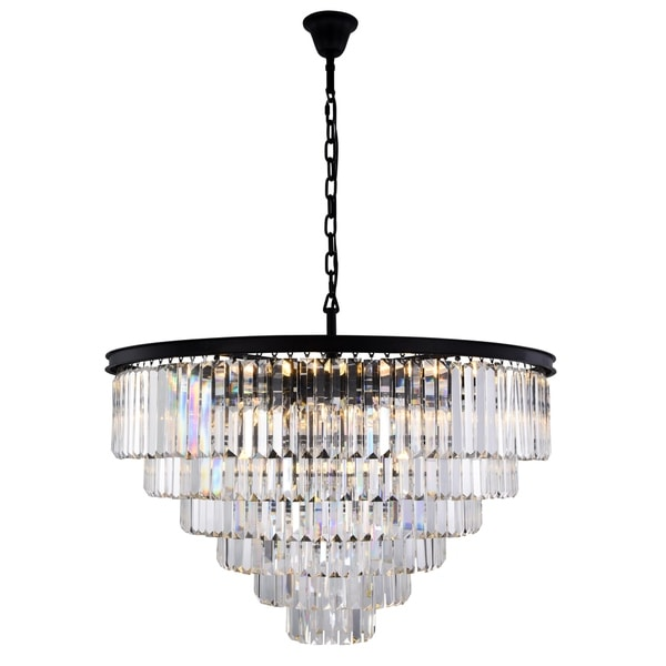 Royce Edge 33-Light Matte Black Chandelier
