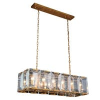 Royce Edge Golden Iron Finish Glass 12-light Chandelier