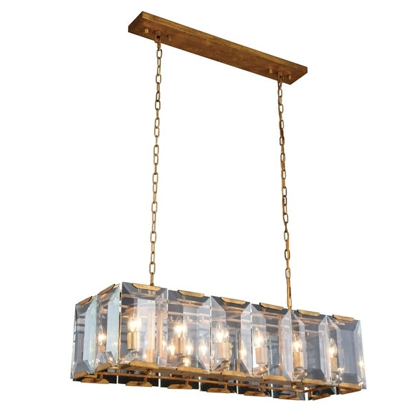 Royce Edge 12-Light Golden Iron Chandelier - golden iron (glass clear crystals)