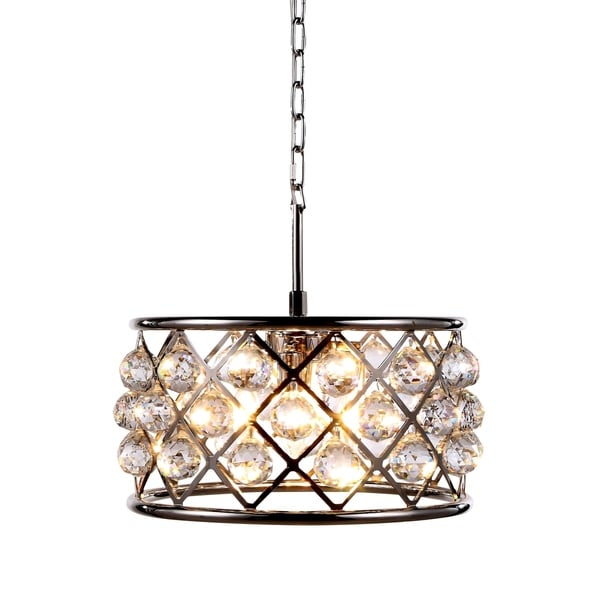 Royce Edge Polished Nickel Steel/Crystal 4-light Pendant