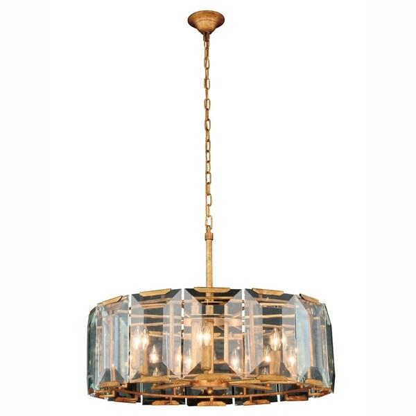 Royce Edge 8-Light Glass and Golden Iron Chandelier