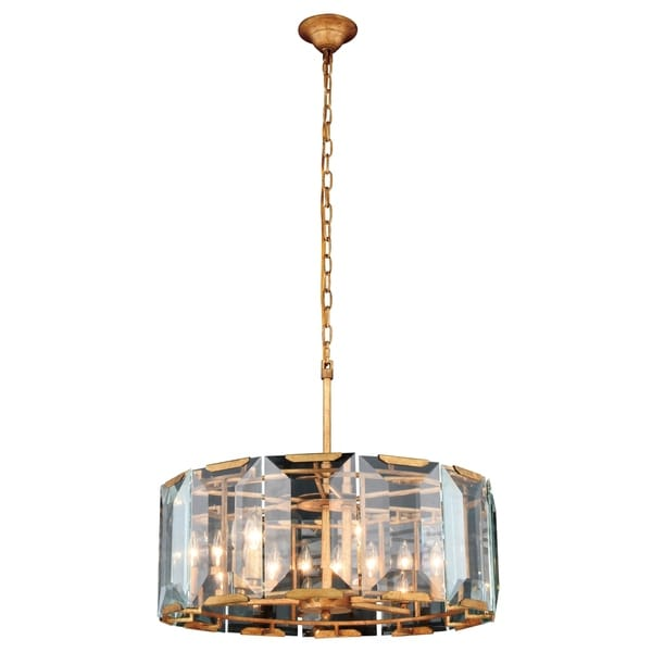 Royce Edge Golden Iron-finished Steel 6-light Chandelier with Clear Glass Crystals