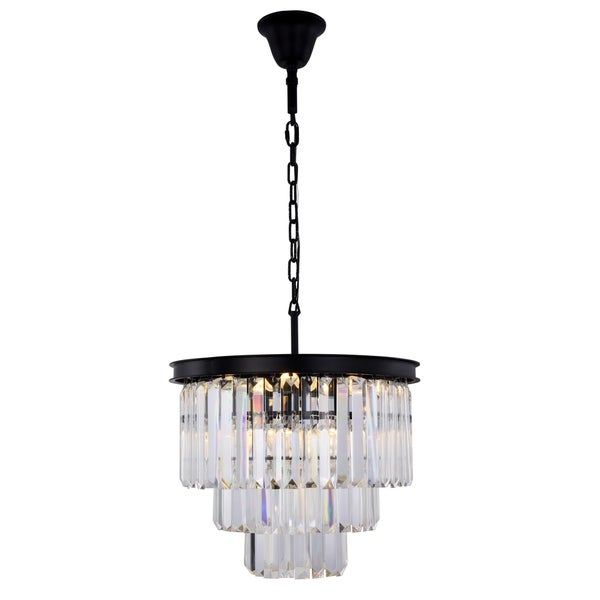 Royce Edge Matte Black Steel/Crystal 9-light Chandelier