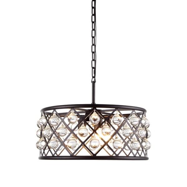Royce Edge Matte Black/Clear Steel/Royal-cut Crystal 5-light Pendant