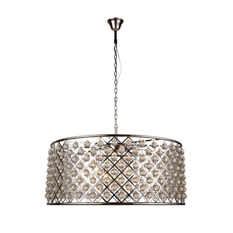 Royce Edge 10-Light Polished Nickel Chandelier - polished nickel (royal cut clear crystals)