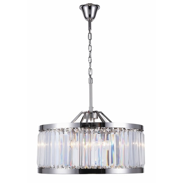 Royce Edge Polished Nickel Steel with Crystals 8-light Chandelier