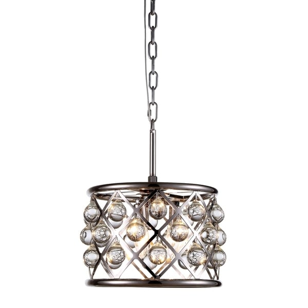 Royce Edge Polished Nickel Iron 3-light Pendant with Royal-cut Clear Crystals