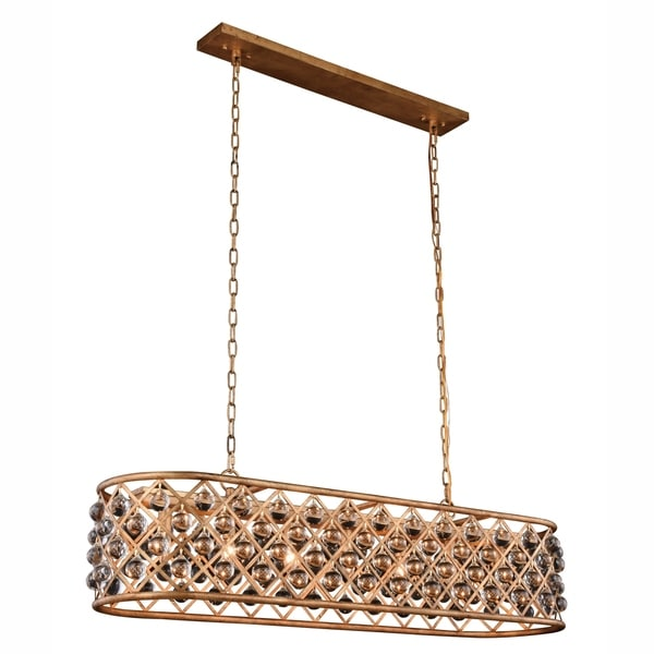 Royce Edge Gold-tone Iron-finish/Clear Steel/Royal-cut Crystal 7-light Chandelier