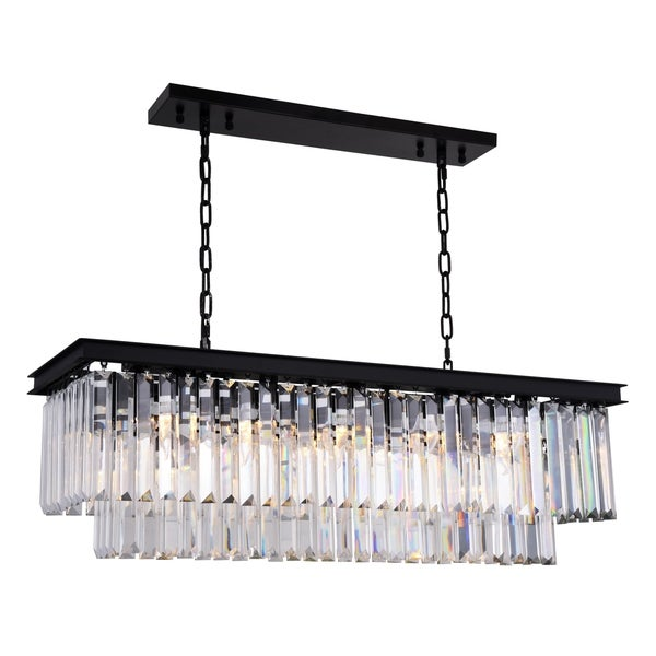 Royce Edge Matte Black Steel with Royal-cut Crystals 12-light Chandelier
