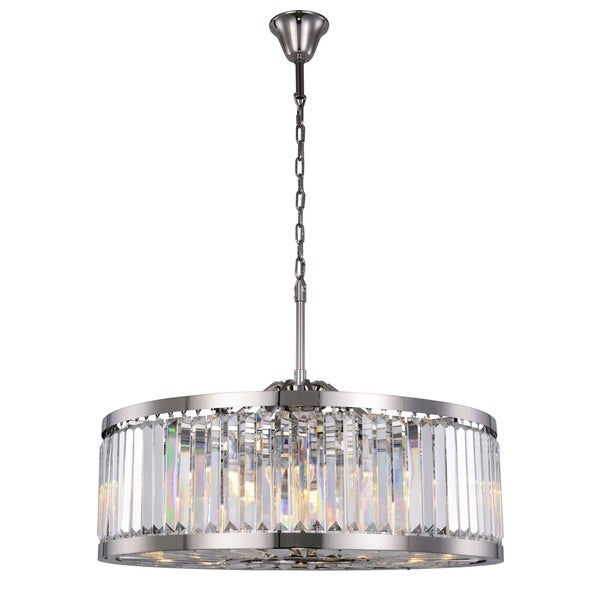 Royce Edge Polished Nickel Steel Crystal 10-light Chandelier