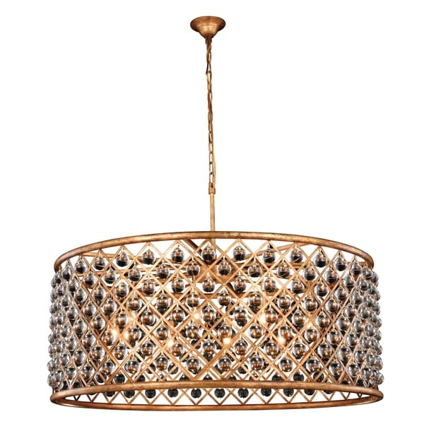 Royce Edge Golden Iron-finished Steel 10-light Chandelier with Clear Royal-cut Crystal Accents