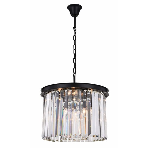 Royce Edge Matte Black Steel 6-light Pendant with Royal-cut Crystals