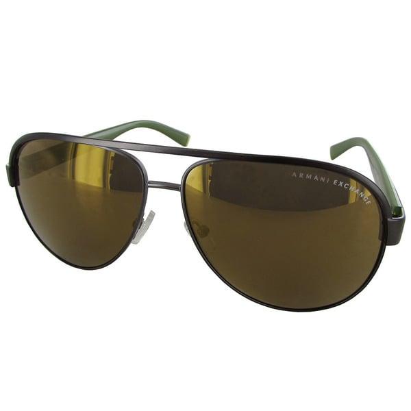 75050785de558 Armani Exchange AX2013 Mens Gunmetal Frame Dark Grey Lens Aviator Sunglasses