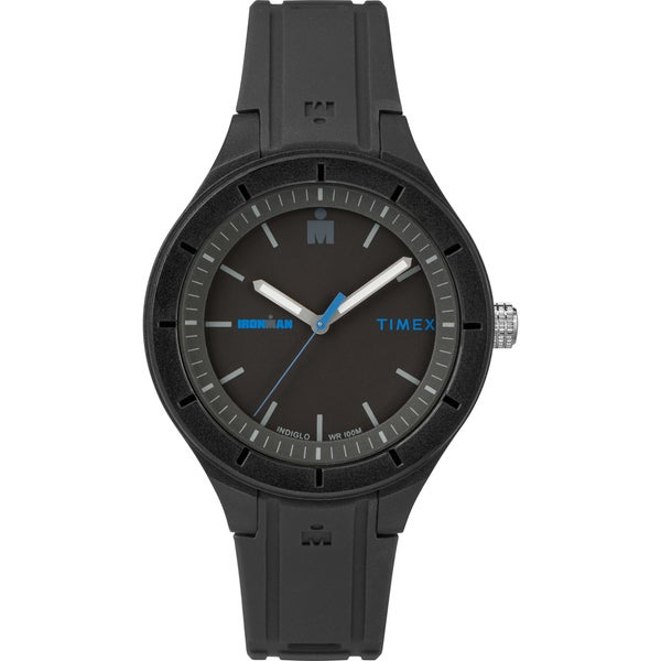 e4f76fd78 Shop Timex TW5M17100 Ironman Essential Urban 38mm Black/Blue Silicone Strap  Watch - black - Free Shipping Today - Overstock - 20302986