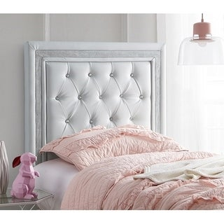 Tavira Allure Dorm Headboard - Glacier Gray with Silver Crystal Border