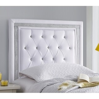 Tavira Allure College Headboard - White with Silver Crystal Border
