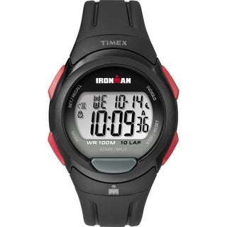 Timex Men's TW5M16400 Ironman Essential 10 Black/Red Resin Strap Watch - black