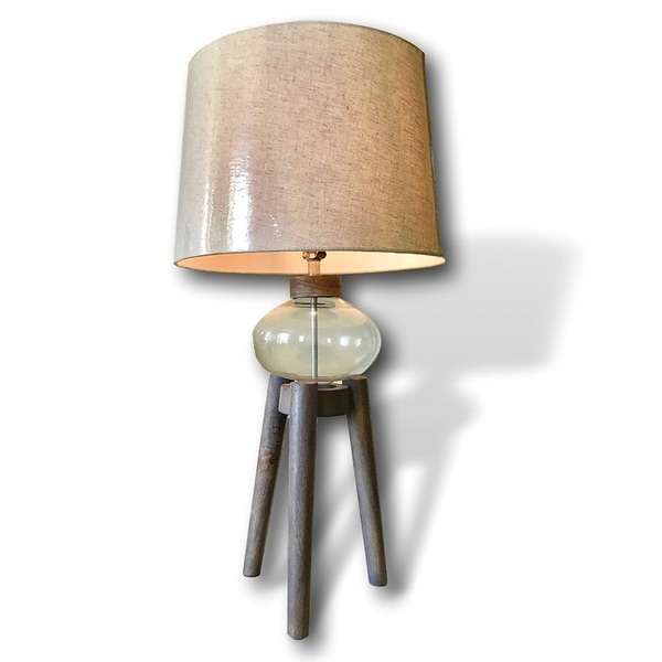 Glass and Wood Accent Tripod Table Lamp by Kauri Design