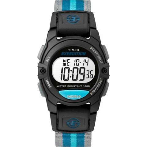 Timex Unisex TW4B13100 Expedition Mid-Size Digital CAT Black/Gray/Blue Nylon Strap Watch