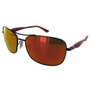 Ray Ban RB3515 Mens Black Frame/Orange Flash Lens Polarized Square Sunglasses