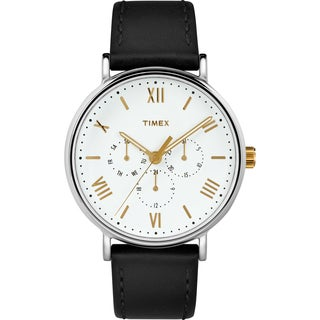 Timex Men's TW2R80500 Southview 41 Multifunction Black/White Leather Strap Watch