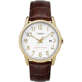 Timex Men's TW2R65100 Easy Reader Signature Brown/Gold-Tone Leather Strap Watch