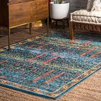 nuLOOM Tribal Classical Border Royal Blue Area Rug - 4' x 6'