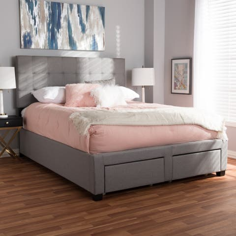 Tibault Contemporary Grey Fabric Storage Bed by Baxton Studio