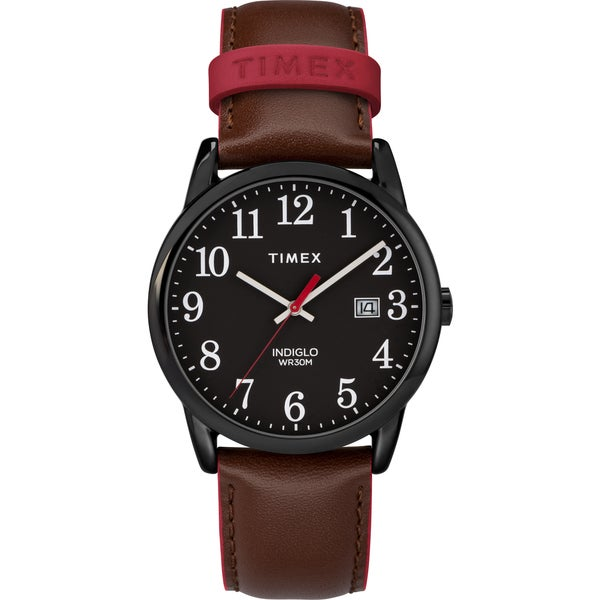 93b439be3 Timex Men's TW2R62300 Easy Reader Brown/Black Leather Strap Watch