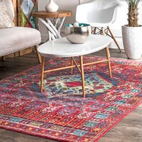 nuLOOM Classic Antique Styling Ornate Red Area Rug (5'3'' x 7'7'')