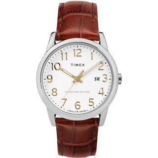 Timex Men's TW2R65000 Easy Reader Signature Brown/Silver-Tone Leather Strap Watch