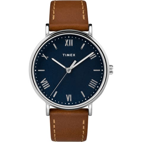 Timex Men's TW2R63900 Southview 41 Tan/Silver-Tone/Blue Leather Strap Watch