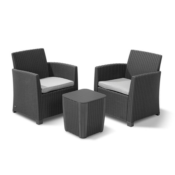 Keter Corona 3 Piece All Weather Outdoor Patio Balcony Set