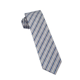 Men's Fashion Microfiber Necktie, Grey Checkered Pattern