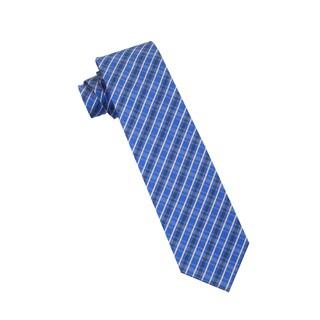 Men's Fashion Microfiber Necktie, Navy Blue Checkered Pattern